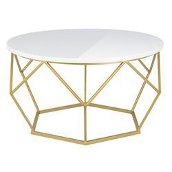 Stolik kawowy Diamond 70 cm złoto biały (ref: 10-1562-70-GSW-MDF)