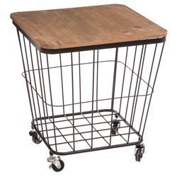 Mobilny stolik na kółkach ze schowkiem