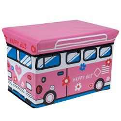 Pojemnik na zabawki z pufą Happy Bus