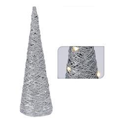 Choinka stożek srebrny 20 led 40 cm