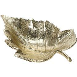 Złota patera ozdobna w kształcie liścia