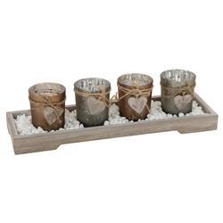 Komplet 4 świeczników na podstawce beż
