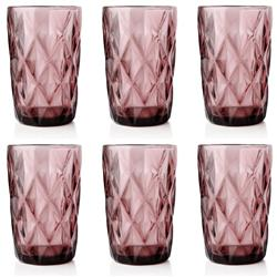 Komplet 6 różowych szklanek 300ml