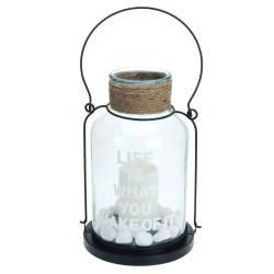 Lampion LED ze świecą i metalowa rączka