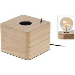 Lampka nocna stojąca drewniana Loft