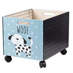 Drewniana skrzynia na kółkach Pies