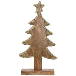 Choinka drewniana zdobiona złota 44 cm