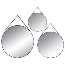 Komplet 3 czarnych luster okrągłych