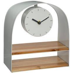 Zegar stołowy z półką biały