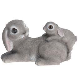 Figurka dekoracyjna królik szary leżący