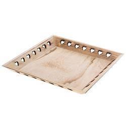 Taca drewniana serca brązowa 29x29 cm