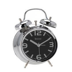 Budzik zegar stołowy czarna tarcza 9 cm